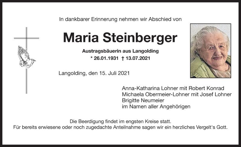 Traueranzeige für Maria Steinberger vom 15.07.2021 aus ovb