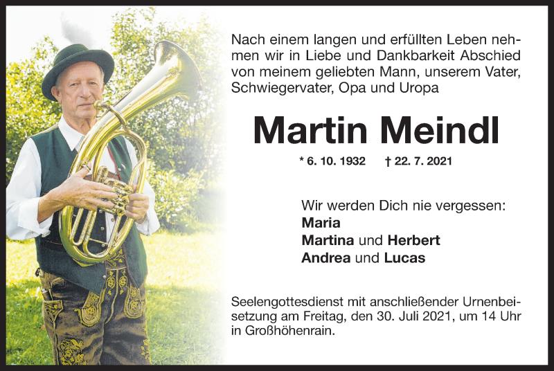 Traueranzeige für Martin Meindl vom 27.07.2021 aus ovb
