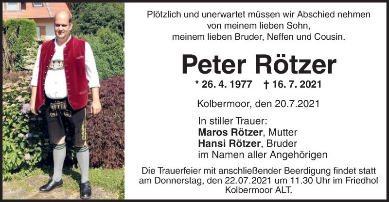 Traueranzeige für Peter Rötzer vom 20.07.2021 aus ovb