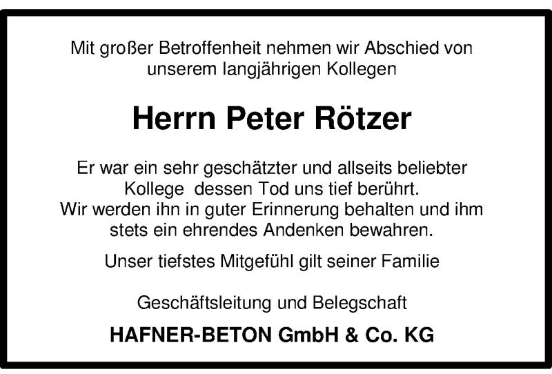 Traueranzeige für Peter Rötzer vom 24.07.2021 aus ovb