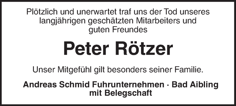 Traueranzeige für Peter Rötzer vom 21.07.2021 aus ovb
