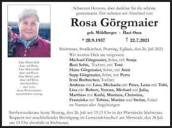 Traueranzeige von Rosa Görgmaier von ovb