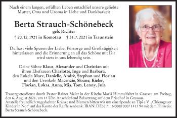 Traueranzeige von Berta Strauch-Schönebeck von ovb