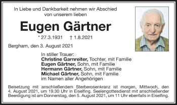 Traueranzeige von Eugen Gärtner von ovb