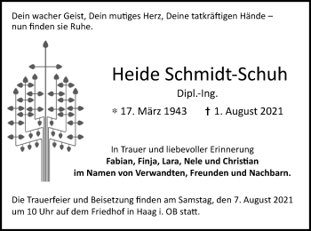 Traueranzeige von Heide Schmidt-Schuh von ovb