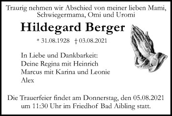 Traueranzeige von Hildegard Berger von ovb
