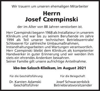 Traueranzeige von Josef Czempinski von ovb