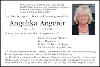 Traueranzeige von Angelika Angerer von ovb