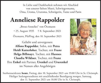 Traueranzeige von Anneliese Rappolder von ovb