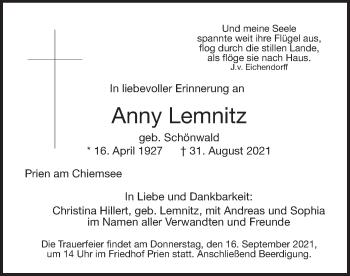 Traueranzeige von Anny Lemnitz von ovb