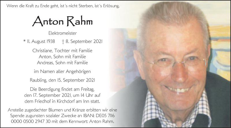 Traueranzeige für Anton Rahm vom 15.09.2021 aus ovb
