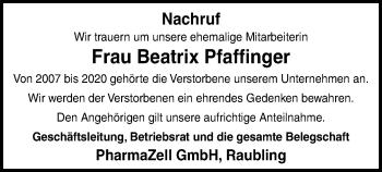 Traueranzeige von Beatrix Pfaffinger von ovb
