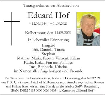Traueranzeige von Eduard Hof von ovb