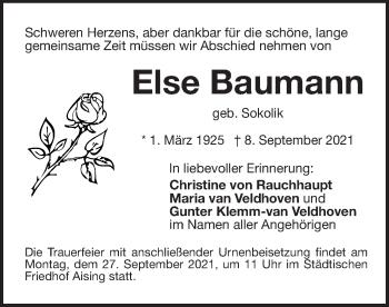 Traueranzeige von Else Baumann von ovb