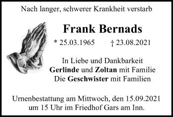 Traueranzeige von Frank Bernads von ovb