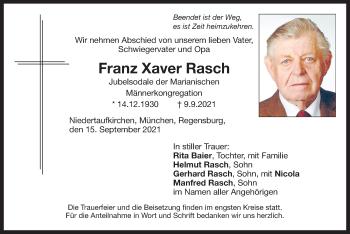 Traueranzeige von Franz Xaver Rasch von ovb