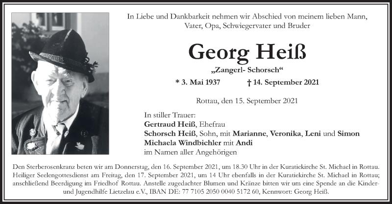 Traueranzeige für Georg Heiß vom 15.09.2021 aus ovb