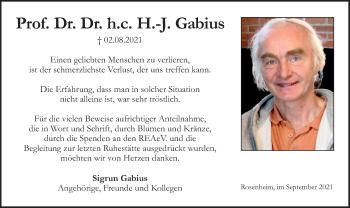 Traueranzeige von H.-J. Gabius von ovb
