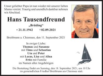 Traueranzeige von Hans Tausendfreund von ovb