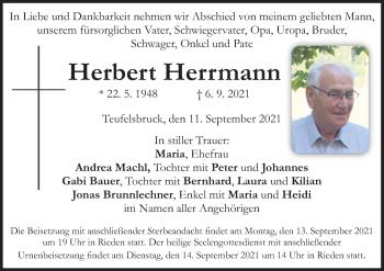 Traueranzeige von Herbert Herrmann von ovb