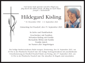 Traueranzeige von Hildegard Kisling von ovb