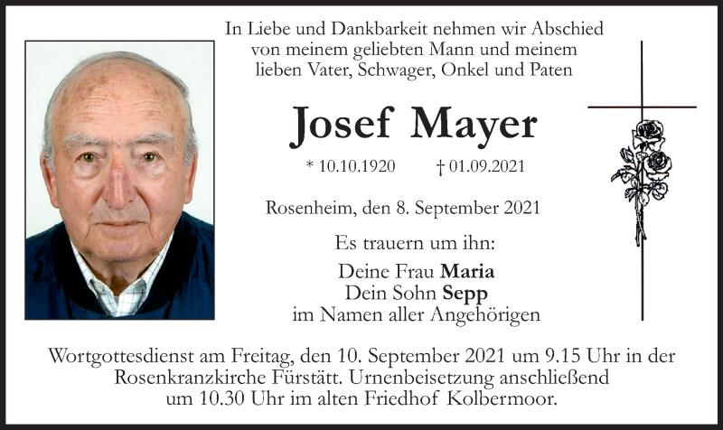 Traueranzeige für Josef Mayer vom 08.09.2021 aus ovb