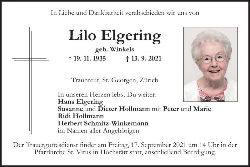 Traueranzeige für Lilo Elgering vom 15.09.2021 aus ovb
