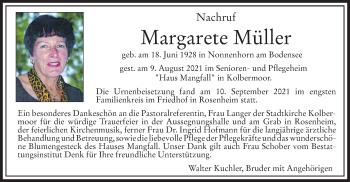 Traueranzeige von Margarete Müller von ovb