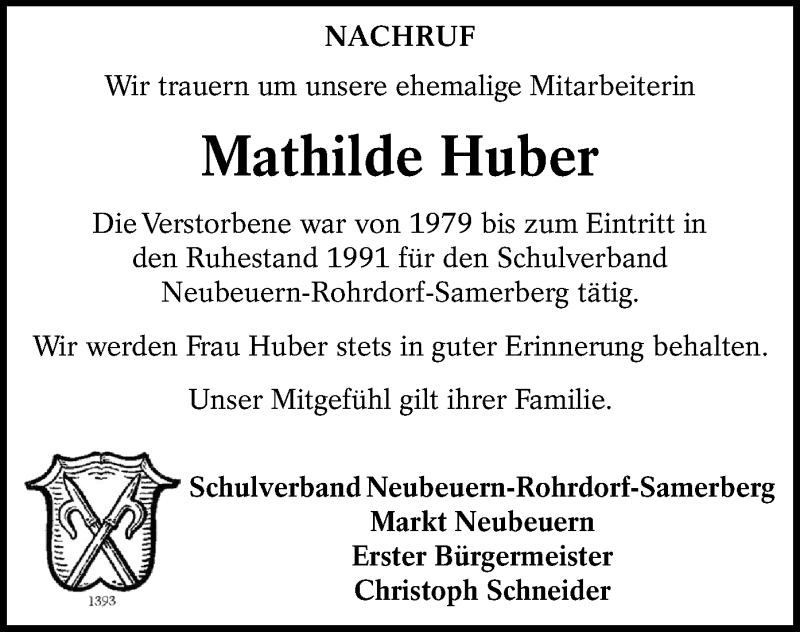 Traueranzeige für Mathilde Huber vom 09.09.2021 aus ovb