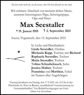 Traueranzeige von Max Seestaller von ovb