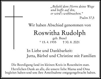 Traueranzeige von Roswitha Rudolph von ovb